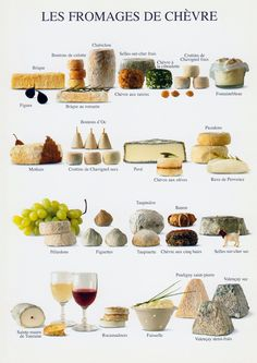 Les Fromages de Chevre - you will find various types of goats cheese in the various regions of France.