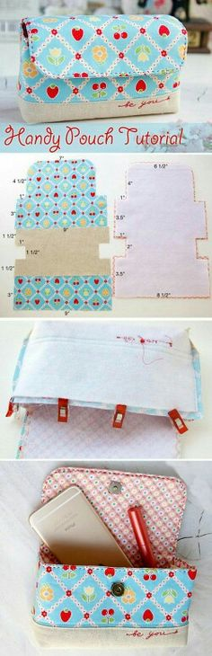 62 Ideas Diy Bag Ideas Pouch Tutorial For 2019 Sewing Hacks, Sewing Tutorials, Sewing Crafts, Sewing Projects, Tote Bag Tutorials, Tutorial Sewing, Wallet Tutorial, Sewing Tips, Purse Patterns