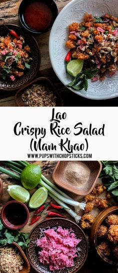A Lao crispy rice salad with crispy, chewy textures with a balance of sweet, tart, salty and spiciness.