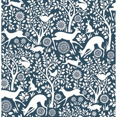 2702-22730 - Meadow Navy Animals Wallpaper - by A - Street Prints