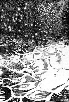 """""""It was just as if all the stars of heaven were falling down upon her""""    Honor Appleton (1879-1951)    c.1932    Illustration for Hans Christian Andersen's story, """"The Little Mermaid"""" in Hans Andersen's Fairy Tales. London: Nelson, 1932."""