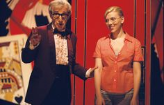 """Scoop"" movie still, 2006.  L to R: Woody Allen, Scarlett Johansson.  The second of three films Johansson made with Woody."
