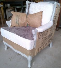 French provincial chair in gray velvet, ivory damask and coffee sacks.