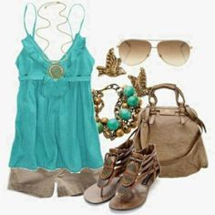 Fashionable outfits styles 2013: luv this turquoise against the tan khaki cargo shorts