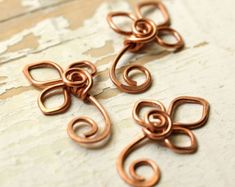 2 Leaves Solid Copper Wire Large Handmade Wirework by myCorabella