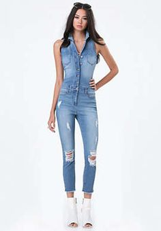 Denim Crop Flight Suit