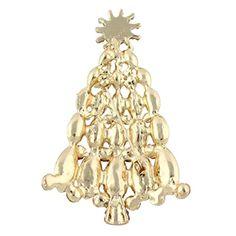 Generisches österreichisches Kristall Schneeflocke Weihnachtsbaum Brosche Rot Gold-Ton A09739-2.
