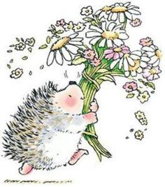 Penny Black Rubber Stamp HEDGEHOG BOUQUET Hedgy Flowers 1444k