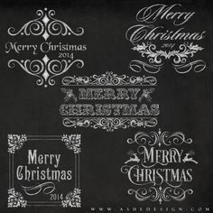 Each of these customizable Word Art designs in our Chalkboard Merry Christmas set comes as a layered Photoshop file with a Photoshop Layer Style applied. This makes it easy to quickly customize designs and add them to your digital images or templates. We've created a training video to show you exactly how to load these Photoshop Layer Styles and customize your images with these unique word art designs.