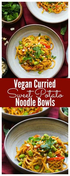 Vegan Curried Sweet Potato Noodle Bowls (gluten free) | dishingouthealth.com