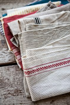 Love the texture and stripes of this collection of woven towels.