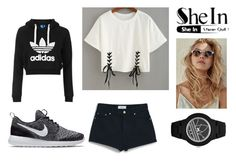 """""""Shein: Double Lace T-shirt"""" by mojc ❤ liked on Polyvore featuring MANGO, NIKE, Topshop and adidas"""