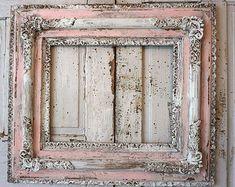 Cuadro grande marco shabby chic vintage rosa por AnitaSperoDesign