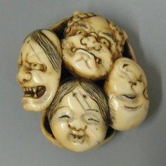 Japanese Netsuke, Ivory Noh Masks, Meiji