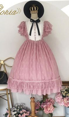 Unideer -Memory of Floria- Vintage Classic Lolita OP Dress (Lace Fabric Version),Lolita Dresses, Harajuku Fashion, Kawaii Fashion, Lolita Fashion, Cute Fashion, Girl Fashion, Fashion Outfits, Cosplay Outfits, Lolita Dress, Dance Outfits