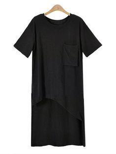 Women Short Sleeve Asymmetric Hem Pocket Long T-shirt