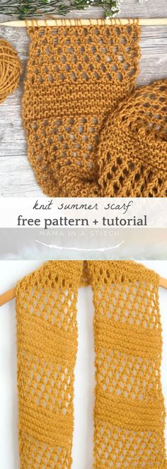 Honeycombs Summer Easy Scarf Knitting Pattern via Mama In A Stitch Knit and Croc. Honeycombs Summer Easy Scarf Knitting Pattern via Mama In A Stitch Knit and Easy Scarf Knitting Patterns, Easy Knitting, Knitting Stitches, Knitting Yarn, Knit Patterns, Stitch Patterns, Knitting Ideas, Easy Patterns, Simple Knitting Projects