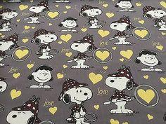 Cotton Fabric - Peanuts & Love  - Cotton Novelty Fabric