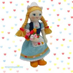 Dutch Doll Crochet Pattern ♥ by HandmadeKitty. Pattern available for purchase here: http://www.etsy.com/listing/98602210/dutch-doll-amigurumi-pdf-crochet-pattern