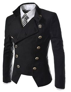 Novel Style Stand Collar Double-Breasted Slimming Solid Color Long Sleeves Blazer For Men