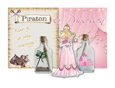 Piratenfeestje. Prinsessenfeest. Flessenpost uitnodigingen. Lege flesjes, plastic of glas. Drukwerk, decoraties om de flesjes aan te kleden. Zelf maken en uitdelen. Al een feestje om te doen.