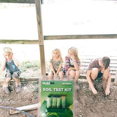 We tested the soil in our pastures today. The children were captivated.  {They were actually super into it after we got out of the heat and did the actual testing. This picture kills me though.  Our dirt is so much better than we thought it was going to be. It's just over grazed and completely covered in weeds. We have major work to do... but we are loving every minute!}
