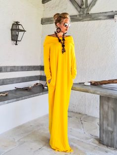 8c10100ae30 Yellow Maxi Long Sleeve Turtleneck Dress with pockets   Yellow Kaftan    Asymmetric Plus Size Dress
