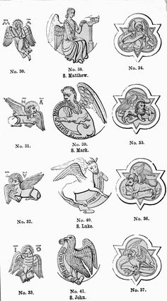 Gospel symbols: Matthew = man Mark = lion Luke = bull John = eagle