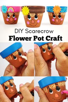 fall crafts This scarecrow flower pot craft is perfect for fall and can even be used as a Thanksgiving craft. It's easy to turn clay pots into adorable scarecrows. Flower Pot Art, Clay Flower Pots, Flower Pot Design, Flower Pot Crafts, Terracotta Flower Pots, Clay Flowers, Fall Crafts For Kids, Thanksgiving Crafts, Holiday Crafts