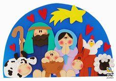 Aprender Brincando: Painel de Natal - Presépio de eva Christmas Nativity Set, Christmas Card Crafts, A Christmas Story, Christmas Decorations, Christmas 2017, Felt Crafts, Diy And Crafts, Crafts For Kids, Christmas Classroom Door