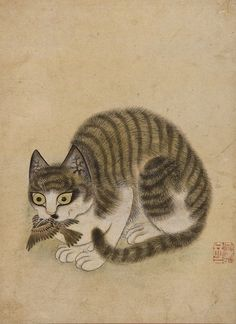 """Because Byeon Sang-byeok became known for his depictions of cats, he was often called """"Byeon goyang"""" (Byeon Cat). His two most famous works with cats are. Korean Art, Asian Art, Chinese Painting, Chinese Art, Chat Oriental, Creepy Cat, Japanese Cat, Japan Tattoo, Art Japonais"""
