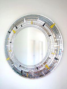 Large Round Mirror Mosaic Mirror Gold Silver and Black Art Deco Mirror, Mirror Wall Art, Mirror Mosaic, Mirror Tiles, Mosaic Wall, Mosaic Glass, Large Round Mirror, Round Mirrors, Mosaic Crafts