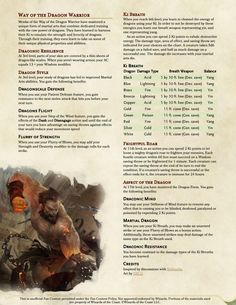 Monk Subclass: Way of the Dragon Warrior : DnDHomebrew Dungeons And Dragons Rules, Dungeons And Dragons Classes, Dnd Dragons, Dungeons And Dragons Characters, Dungeons And Dragons Homebrew, Dnd Characters, Monk Dnd, Dnd Stats, Dnd Stories