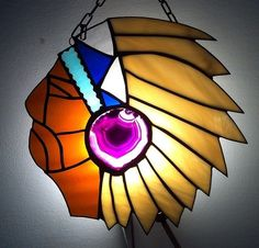 Stained glass Indian chief with an agate.Halona glass.