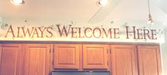 Lettering Painted on a Kitchen Soffit for a Mesa Home by Doug Morris