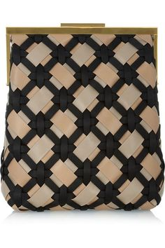 Woven taupe and sand leather (Lamb), black satin Gold frame Internal patch pockets Clasp fastening at top Comes with dust bag