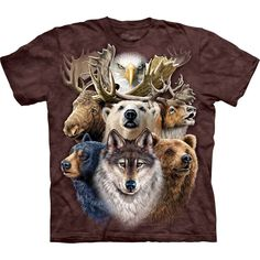 Wolf Long Sleeve with Northern Wildlife Collage Medium design by Steven Michael Gardner. Get The Mountain Wolf T-Shirt Collection here we have the lowest prices. Harley Davidson, North American Animals, Bear T Shirt, Animals For Kids, Bunt, Classic T Shirts, Long Sleeve Tees, Tee Shirts, Prints