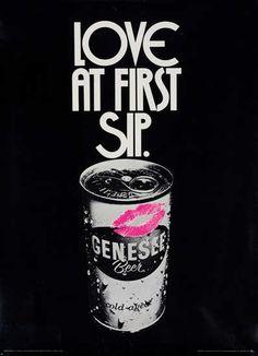 1960s - Love at First Sip Original Genesee Beer Advertising Poster by John C. Buck
