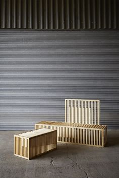 Great idea for a design public outdoor seating -Clarascuro benches - Lilliana Ovalle Sticks Furniture, Bench Furniture, Urban Furniture, Design Furniture, Wooden Furniture, Timber Battens, Interior Exterior, Furniture Inspiration, Outdoor Seating