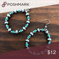 Turquoise & Silver Navajo Pearl Earrings Brand new Silver Navajo pearls & Turquoise Beaded round hoop earrings. Boho western Jewelry earrings Tribal Aztec Southern southwest rodeo turquoise jewelry Jewelry Earrings