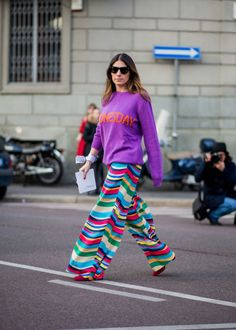 Play with color this spring! Add rainbow stripes and a colorful hoodie for a neck turning ensemble this season.