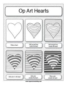 Op art, also known as optical art, is a style of visual art that uses optical illusions. Op art works are abstract, with many better-known pieces created in black and white. Illusion Kunst, Illusion Art, Art Handouts, 5th Grade Art, Doodles, Art Worksheets, Ecole Art, Valentines Art, Park Art