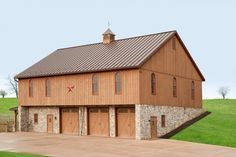 This new bank barn was built by Stable Hollow Construction Pole Barn Garage, Pole Barn House Plans, Pole Barn Homes, Barn Plans, Garage House, New House Plans, Pole Barn Builders, Pole Barns, Bank Barn