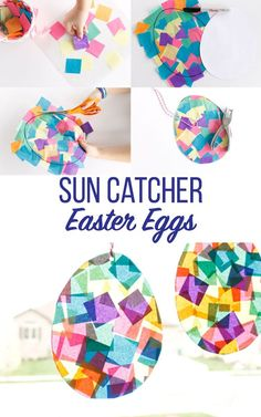 Fun and Easy Kids craft perfect for Easter time. Sun Catcher Easter Eggs. #kidscrafts