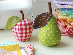 Pear and Apple Pincushions - Instant Download! Save when you buy the patterns together! Make your own apple and pear pincushions and ornaments with two PDF sewing patterns by Retro Mama! Both patterns are included in this bundle. These are the same patterns sold individually in my shop. Fabric pears and apples make adorable decorations for your kitchen, sewing table or holiday tree, and are sweet handmade teacher gifts. Apple pincushion measures 4-1/2 tall Pear pincushion measures 6 t...