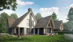Landelijk moderne woning Buitenhuis Villabouw wit stucwerk zwart potdekselwerk, eiken balken