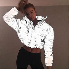 Hot sale 2019 winter women jacket new Solid reflective Full sleeved Street wear fashion Wild straight zipper Short cotton coat Warm Outfits, Mode Outfits, Coats For Women, Jackets For Women, Clothes For Women, Ladies Coats, Ropa Color Neon, Coat Stands, Padded Jacket