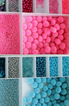 All the beads we use to make our personalized garlands in pink and blue colours