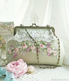 Wonderful Ribbon Embroidery Flowers by Hand Ideas. Enchanting Ribbon Embroidery Flowers by Hand Ideas. Embroidery Purse, Learn Embroidery, Silk Ribbon Embroidery, Custom Embroidery, Hand Embroidery Tutorial, Hand Embroidery Patterns, Diy Bags Patterns, Design Patterns, Embroidery Materials