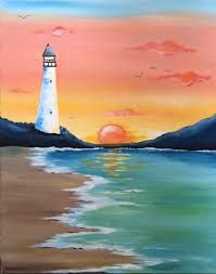 Lighthouse with pastel sunset painting, paint nite.